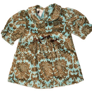 New! Aqua and Brown Paisley Velour Dress 6 months